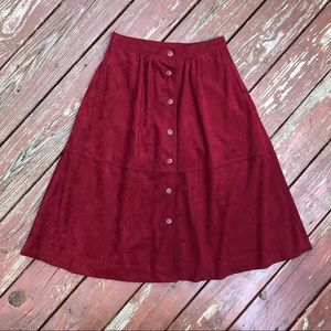 Vintage Micro Suede Button Down Skirt